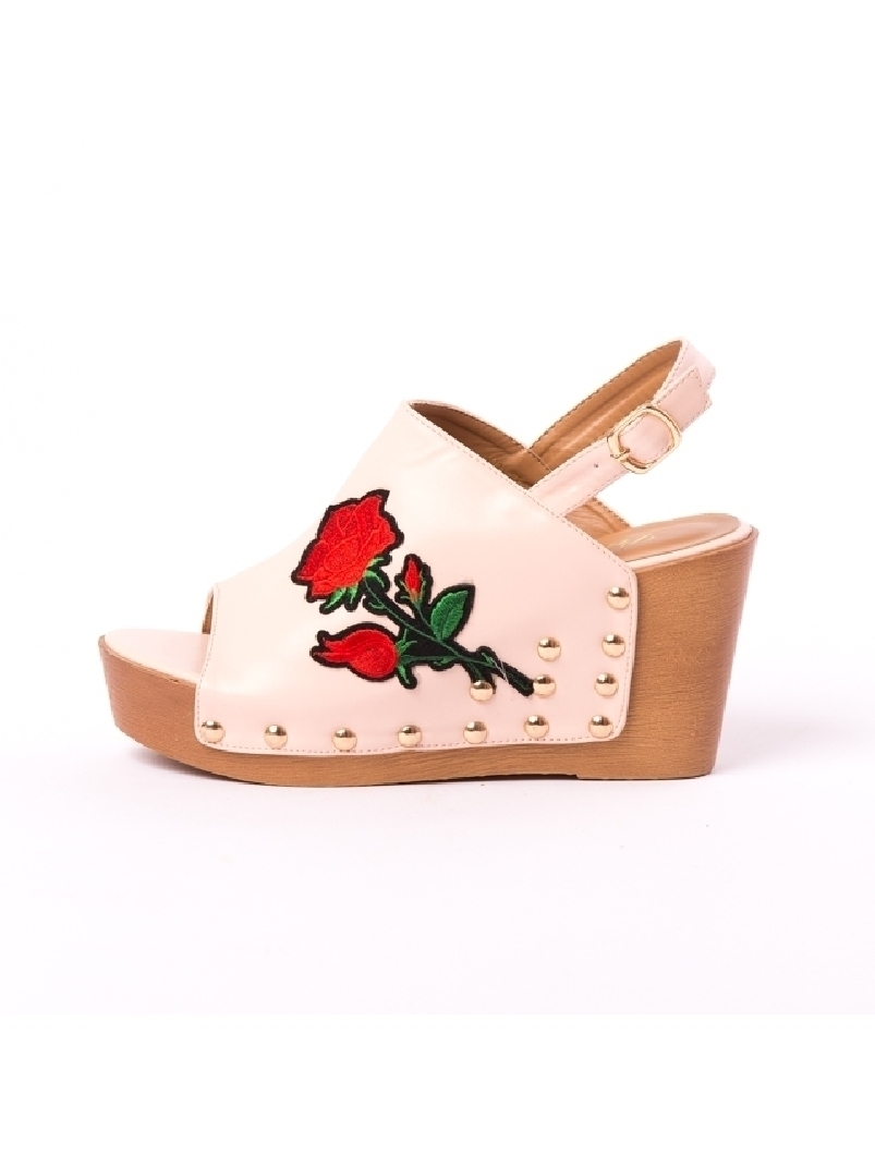 Sandale Dama Cu Broderie Fancy Roz | angrozenda.ro
