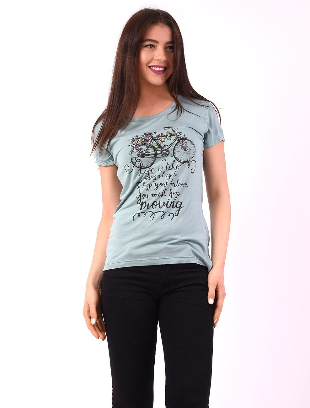 Tricou Dama Cu Imprimeu Keep Moving Vernil