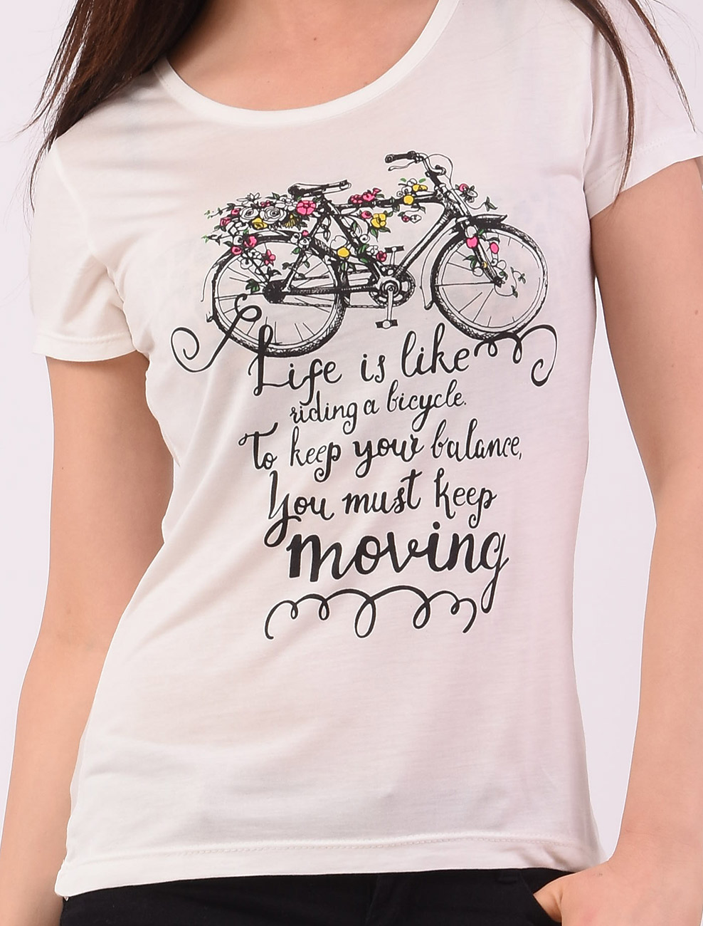 Tricou Dama Cu Imprimeu Keep Moving Alb-2