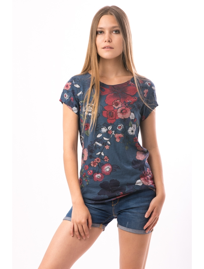 Tricou Dama FriendlyFlowers Bleumarin